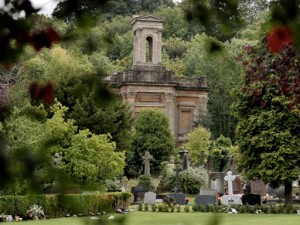 The Anglican Chapel at Arnos Vale through the trees