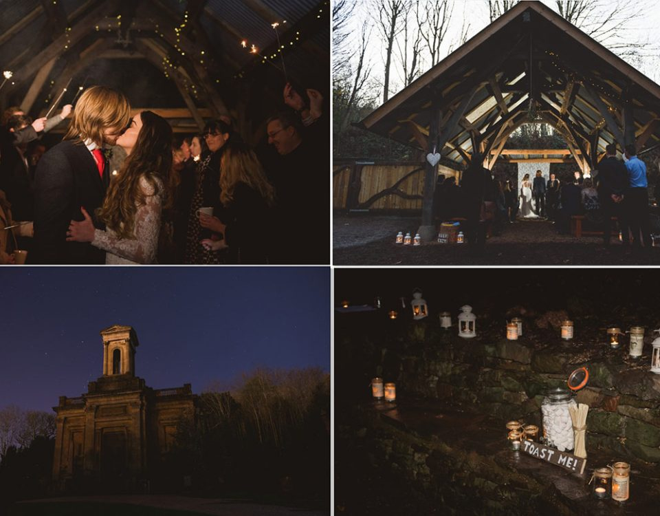 selection of 4 winter wedding images, including underwood centre civil ceremony, just married couple kissing, the anglican chapel at night, and candles and marshmallows