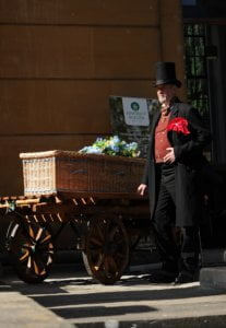 Somerset Willow coffin on bier