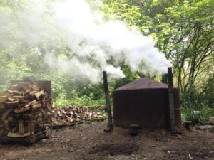 Charcoal kiln in action