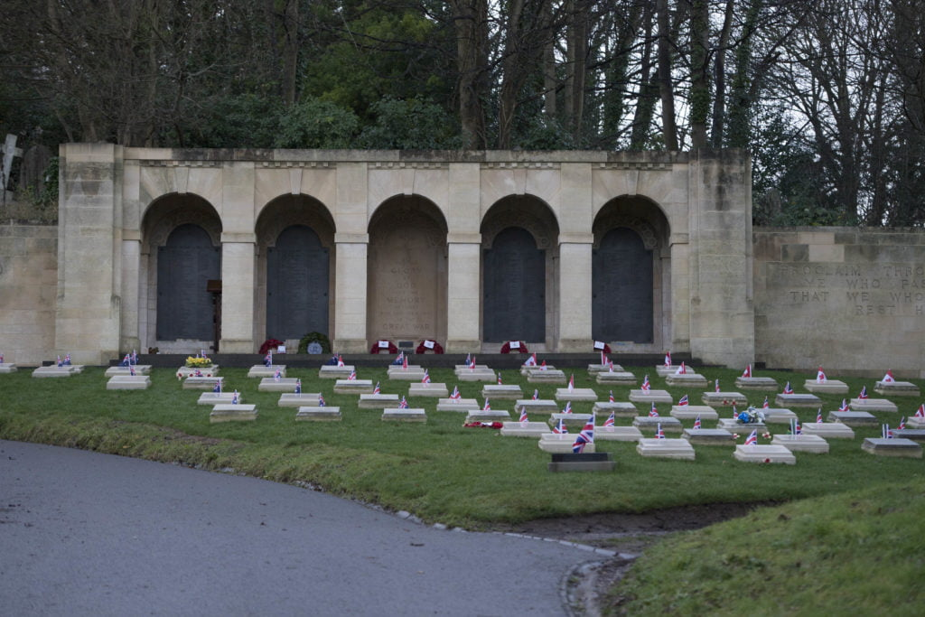 Ceremony to mark the restoration of soldiers corner by the Commonwealth War Graves Commission at Arnos Vale Cemetery, Bristol, 8th December 2018.