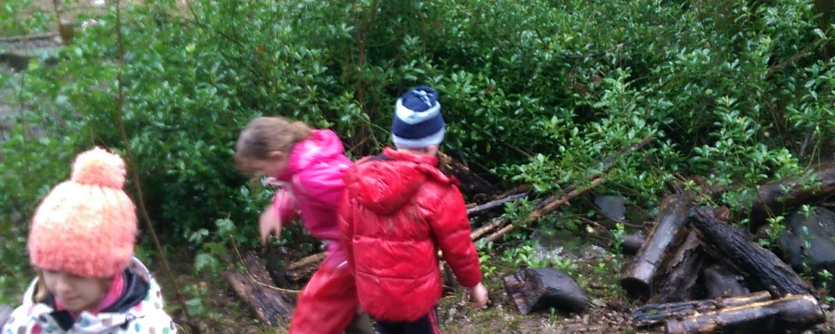 small children dressed warmly playing outdoors