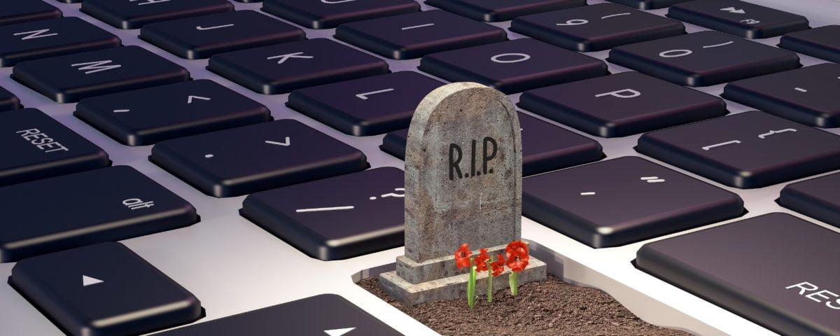 Grave on laptop computer