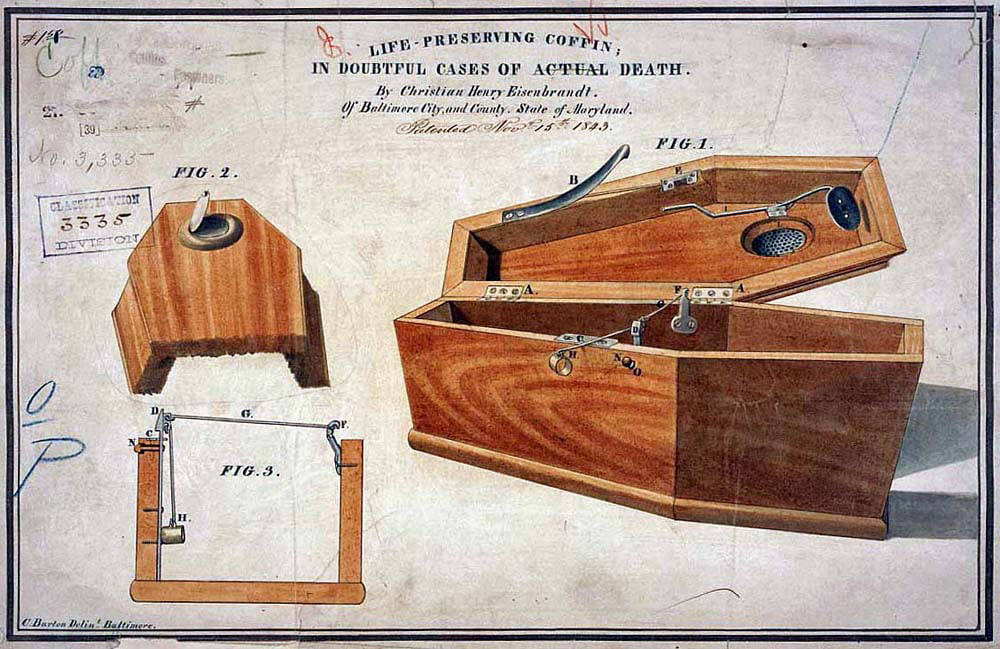 C. H. Eseinbrandt coffin. Drawing of a self opening coffin in case of accidental live burial